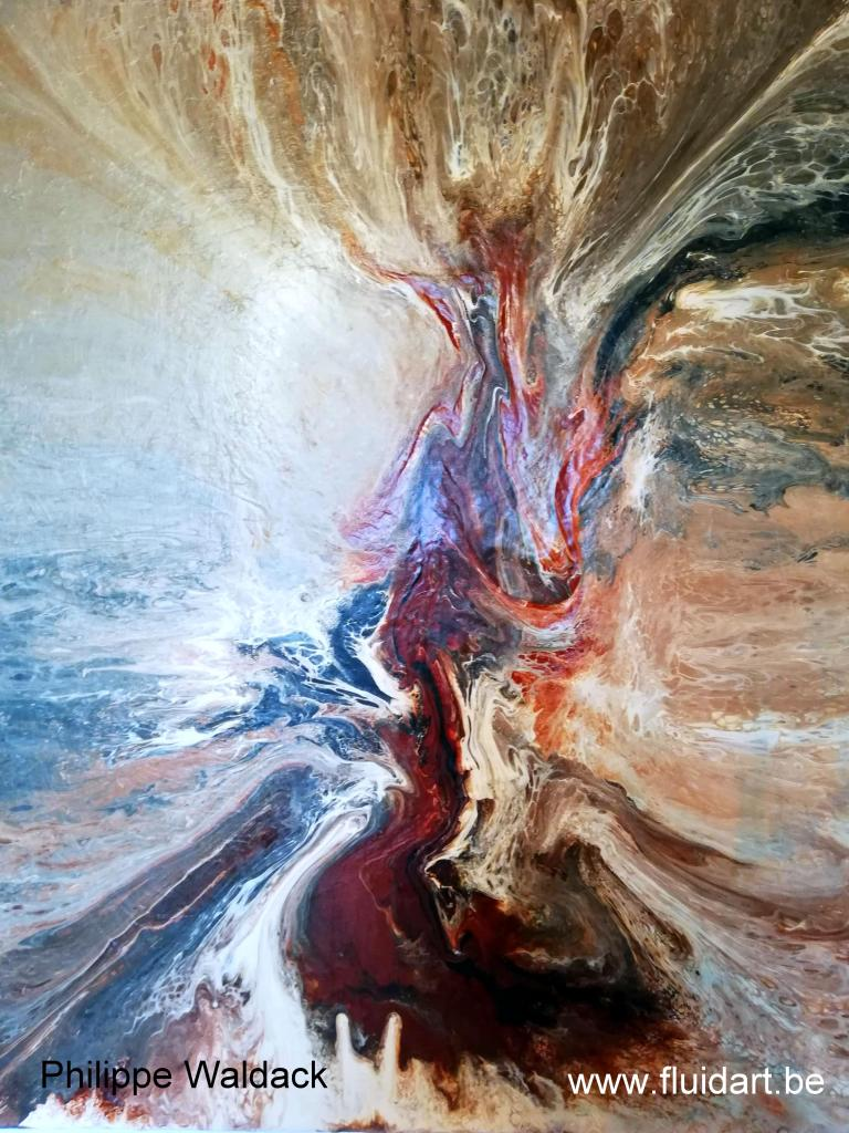 Fluid art - 23.  Abstract 7. 3 D canvas 100 op 80 cm.